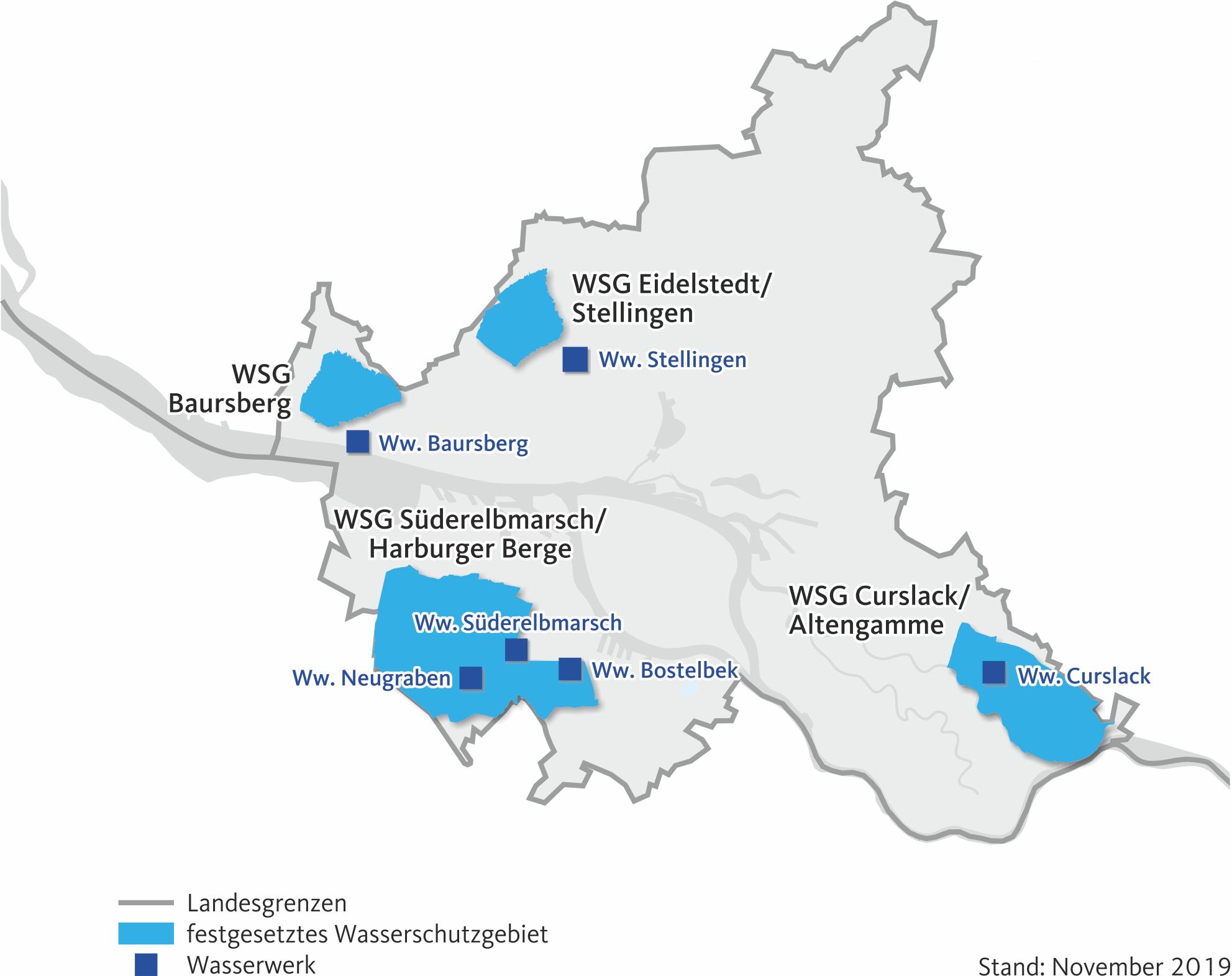 Karte der Hamburger Wasserschutzgebiete